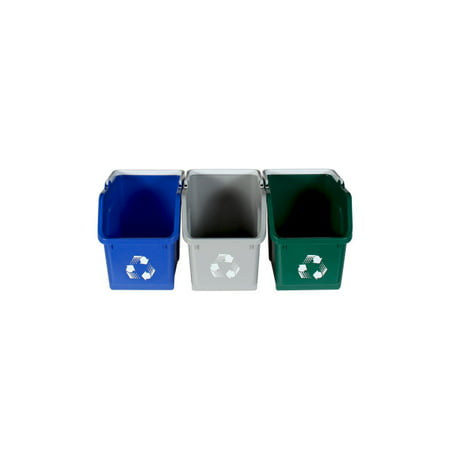 Busch Systems Multi Recycler Stackable Indoor Recycling Containers [3 Pack] 18 G - Grey | Blue | Green - Mobius Loop Indoor Container - image 2 of 2