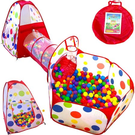 3pc Kids Play Tent Crawl Tunnel and Ball Pit Popup Bounce Playhouse Tent with Basketball Hoop for Indoor and Outdoor Use with Red Carrying Case