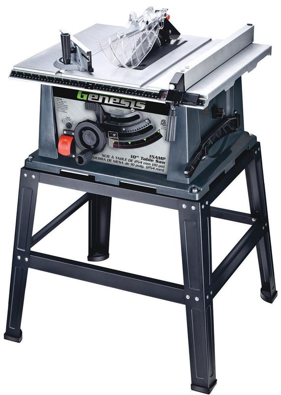 Genesis GTS10SB Heavy Duty Table Saw With Stand, 15 A, 10 in Blade, 4800 rpm by RICHPOWER INDUSTRIES INC.