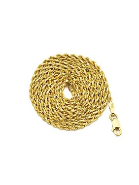 """LOVEBLING 10K Yellow Gold 2mm Diamond Cut Rope Chain Necklace (18"""")"""