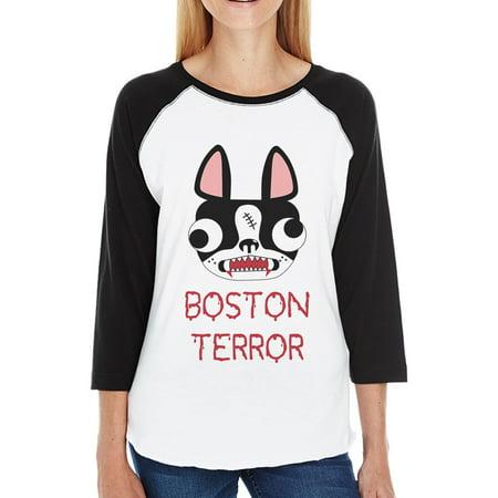 Boston Terror Terrier Womens 3/4 Sleeve Baseball Tee For Halloween