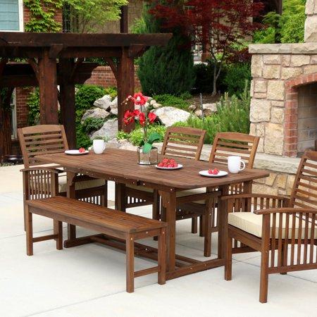 Walker Edison Acacia Wood 6 Piece Rectangular Patio Dining Set