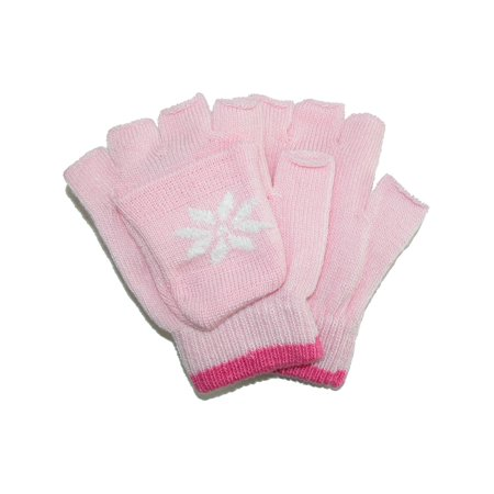 Size one size Girl's Stretch Convertible Fingerless Winter Mittens / Gloves