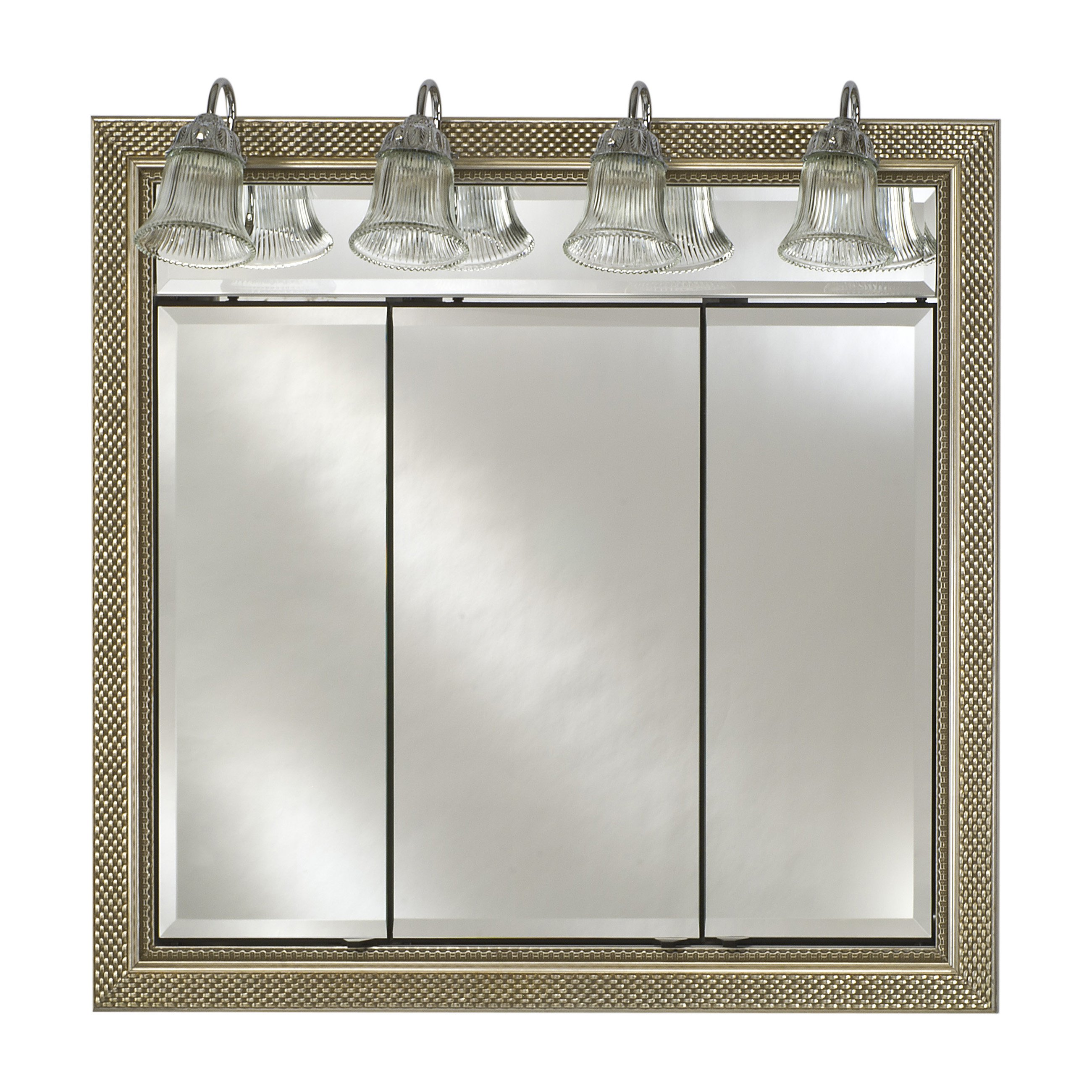 Afina Signature Traditional Lighted Triple Door 44W x 34H in. Recessed Medicine Cabinet