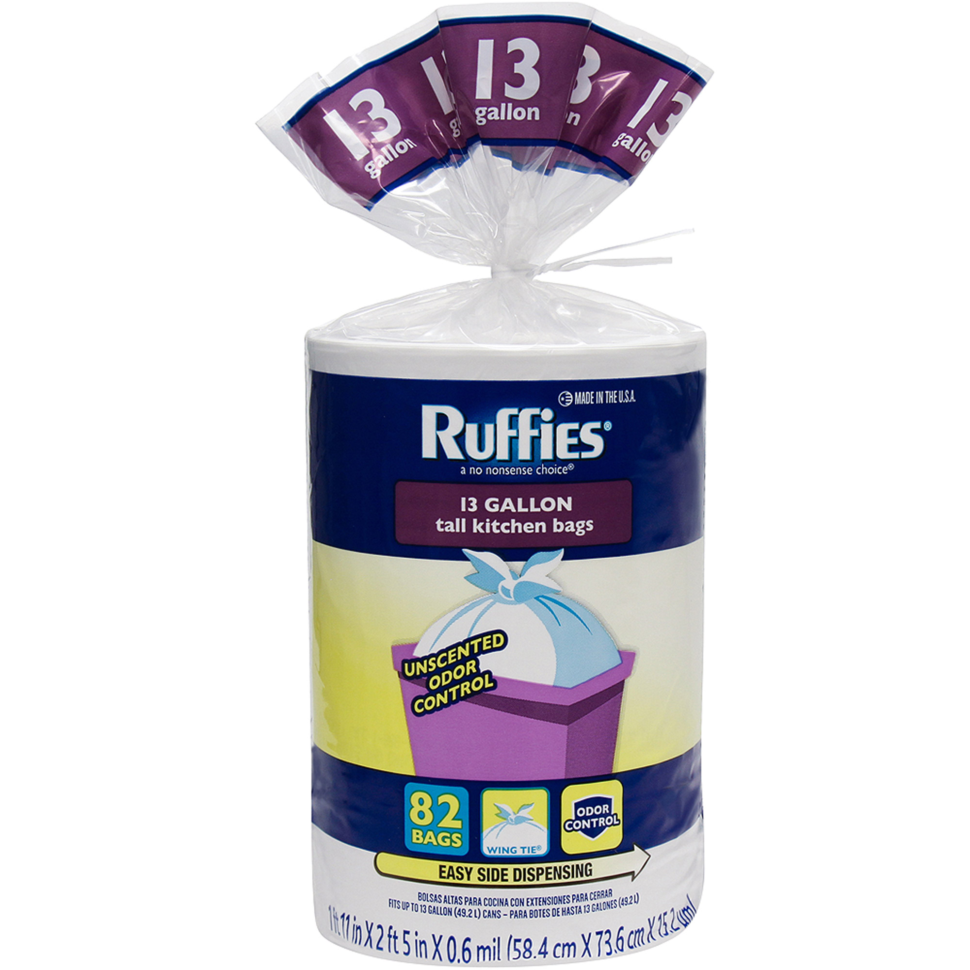 Ruffies Tall Kitchen Trash Bags, 13 gal, 82 count