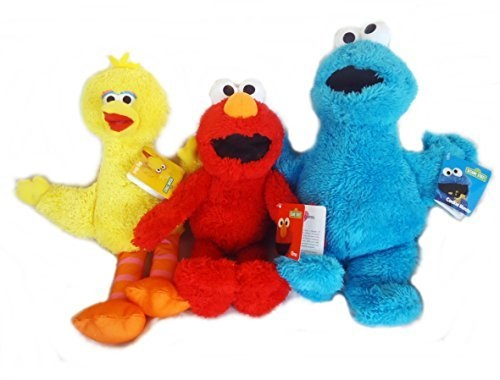 Elmo, Big Bird, and Cookie Monster Fuzzy Plush Toy Sesame Street Gift Set by