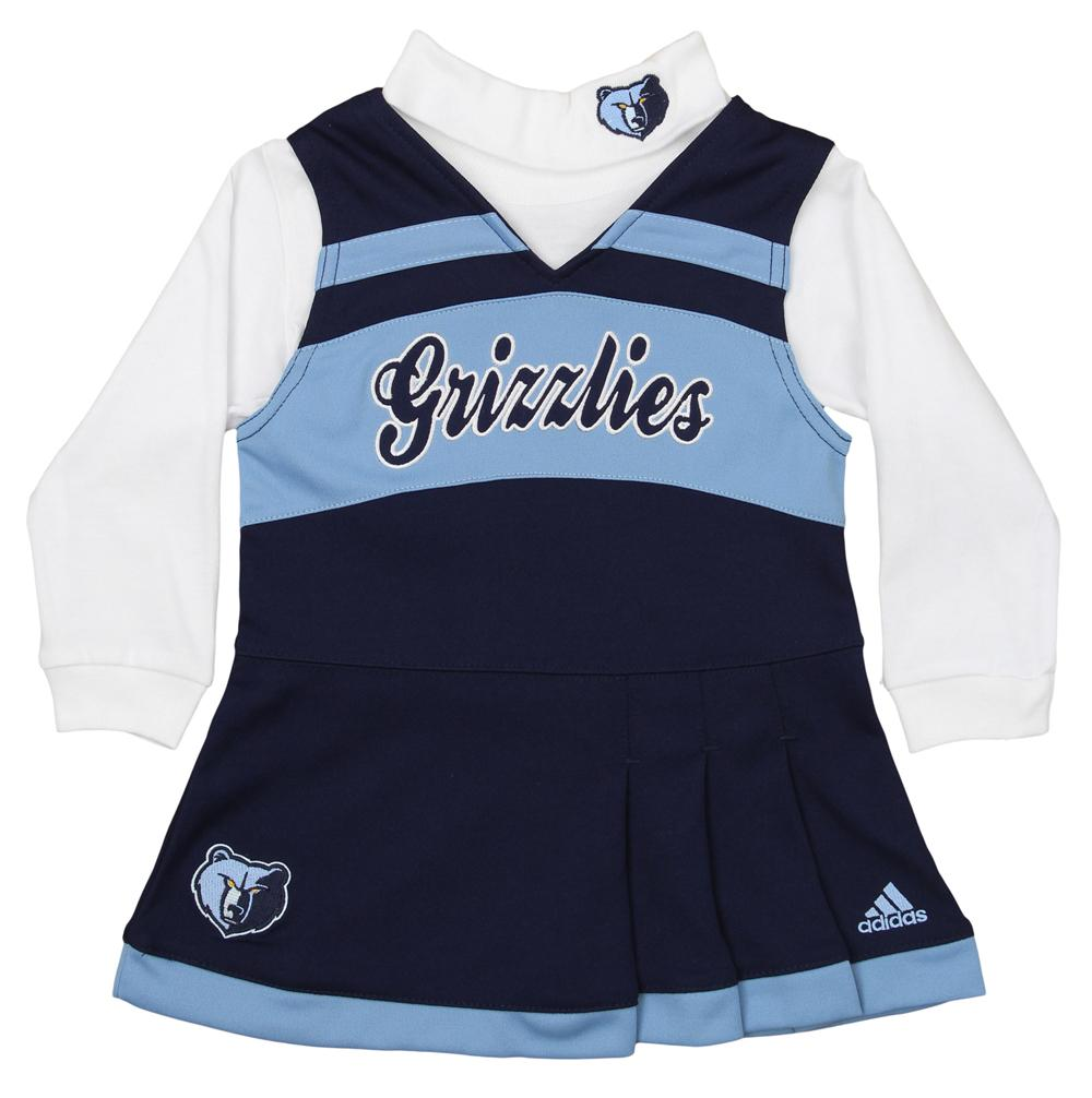 Adidas NBA Toddlers Memphis Grizzlies Cheer Jumper Dress with Turtleneck, Blue