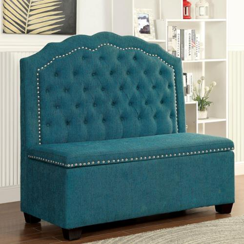 Furniture Of America Ellare Romantic Tufted Storage Bench Teal   Walmart.com