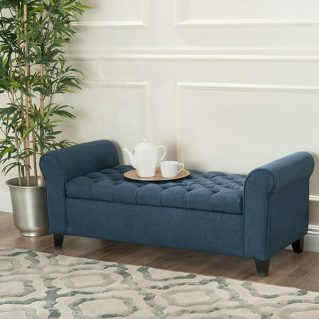 Noble House Amanda Dark Blue Fabric Armed Storage Bench ()
