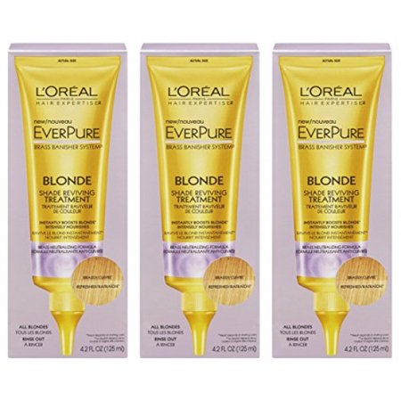 Everpure Water Treatment (L'Oreal Paris Hair Expertise - EverPure Brass Banisher System - Blonde Shade Reviving Treatment - Net Wt. 4.2 FL OZ (125 mL) Each - Pack of 3)
