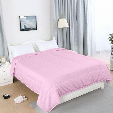 All-season Down Comforter 100% Polyester Reversible Machine Wash Pink Twin - image 2 de 8
