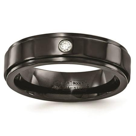 Dia Collection - Black Titanium .03ct Dia w/ 925 SS Bezel 6mm Wedding Band Sz 9
