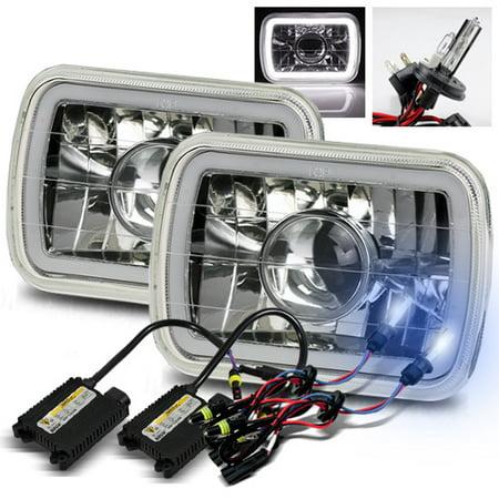 Modifystreet 8000K H4-2 HID + Hi-Power White LED 3D-Halo Tube H6014/H6052/H6054 7x6 Semi-Sealed Beam Projector Headlights Conversion Kit - Chrome Crystal