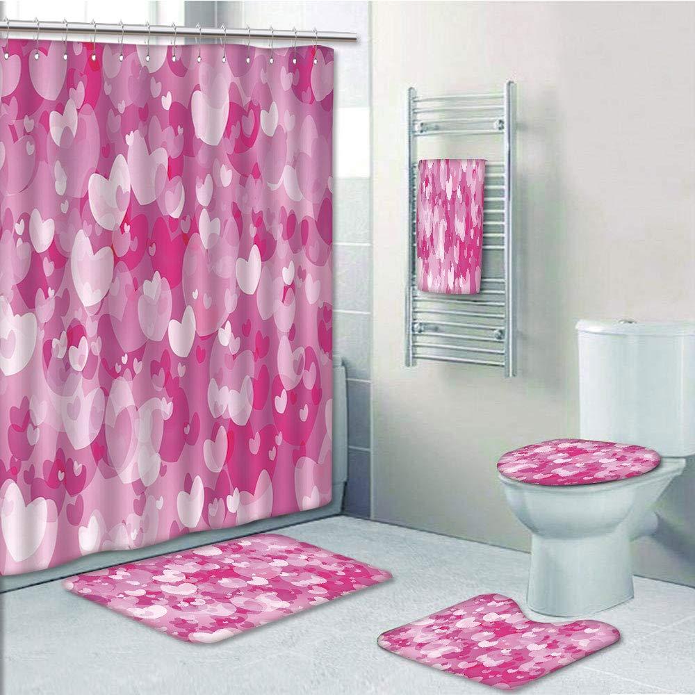 Valentine Waterproof Shower Curtain Nonslip Mat Toilet Cover Rug Bath Carpet Set