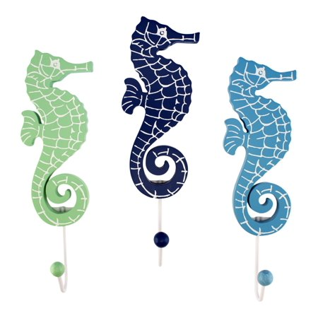 Green Blue Navy Seahorses with Single Hooks Set of 3 Wood Wall
