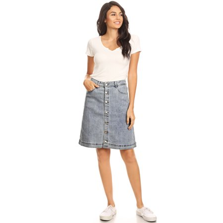 Vader Side Skirts - Anna-Kaci Summer Womens Stretch Denim Jean Button Flare Vintage With Side Pocket Skirts