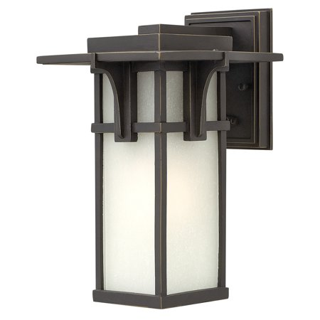 "Hinkley Lighting 2230 11.75"" Height 1-Light Lantern Outdoor Wall Sconce with Etched Seedy Shade from the Manhattan Collection"