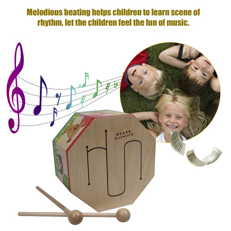 2017 Hot Sale Orff world Cartoon Wood Hand Drum Beating Musical Instrument with Three Tone... by