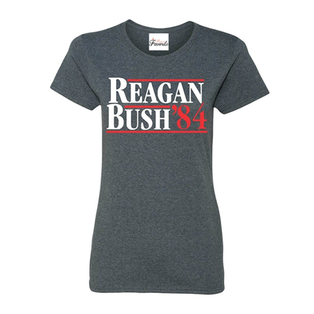 Reagan Bush 84 Women's T-Shirt Republican Presidential Campaign Shirts Anti Bush Tee Shirts