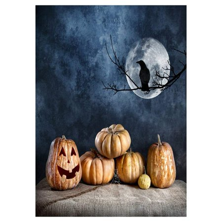 ABPHOTO Polyester Photography Background Photo Backdrops Magic Theme Photography Studio background Horror night linen, spider web, pumpkin, branches, crow, moon for Halloween 7x5ft (Inside The Magic Halloween Horror Nights)