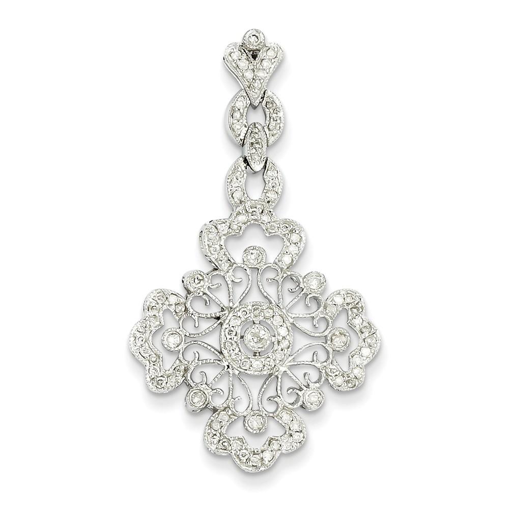 14k White Gold Diamond Filigree Pendant. Carat Wt- 0.46ct