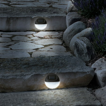 Solar Lights ? Outdoor Rechargeable Battery Powered LED Exterior Lighting with Auto On for Home, Patio, Deck and Driveway by Pure Garden (Set of 4)