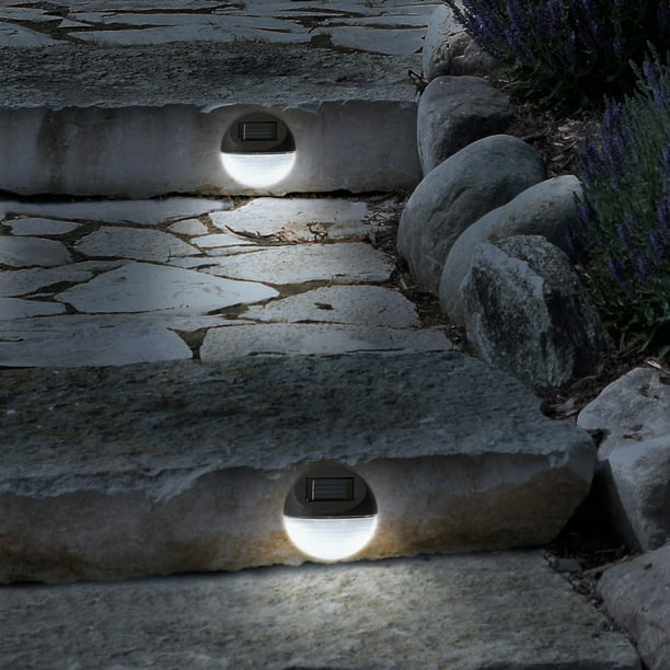 Solar Lights Outdoor Rechargeable Battery Powered Led Exterior Lighting With Auto On For Home Patio Deck And Driveway By Pure Garden Set Of 4 Walmart Com Walmart Com