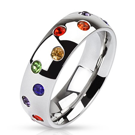 6mm Multi Paved Rainbow CZs Stainless Steel Dome Band Ring Guy Pride Band (SIZE: (Enameled Dome Ring)