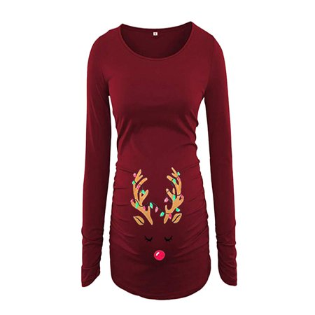 - Women's Print Christmas Side Ruched Long Sleeve Maternity Top Pregnancy Clothes