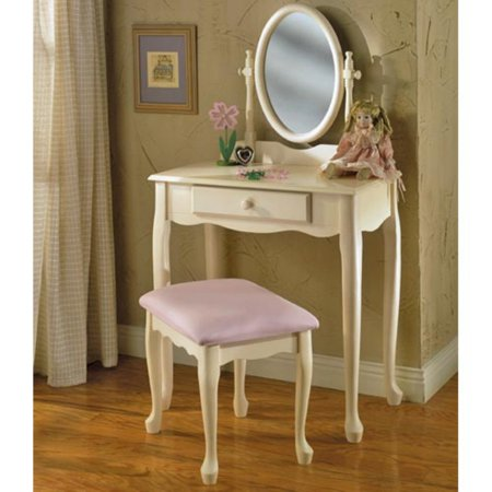 - Powell Vanity, Mirror & Bench, Off-White