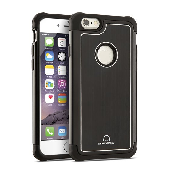 Gear Beast GearAluminum Rugged Case for iPhone 6s and iPhone 6, Dual Layer  Hybrid Protective Phone Case - Walmart.com