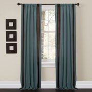 Charming Sand Blue/Brown Window Curtains, Set of 2