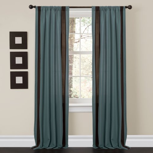 Nice Charming Sand Blue/Brown Window Curtains, Set Of 2