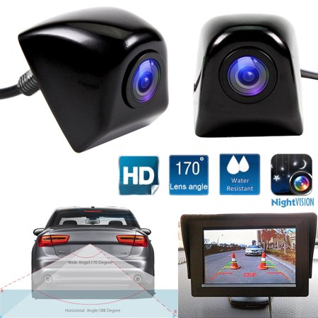Front Cmos Camera - Backup Camera,EEEkit HD Color CMOS IP68 Waterproof 170 Degree Viewing Angle Rearview Camera Car Reversing Rear View/Side View/Front View Security Pinhole Camera by EEEkit