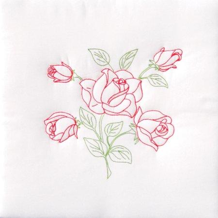 Jack Dempsey Long Stem Rose Stamped White Quilt Blocks, 18