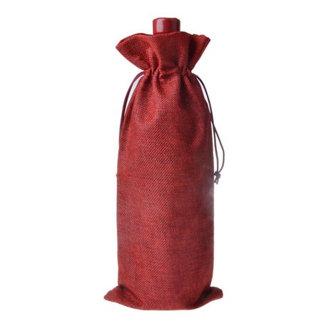 5Pcs 100% Natural Jute Burlap Vintage Wedding Favours Hessian Wine Bottle Bags Valentine's Day Decoration - Vintage Valentine Decorations