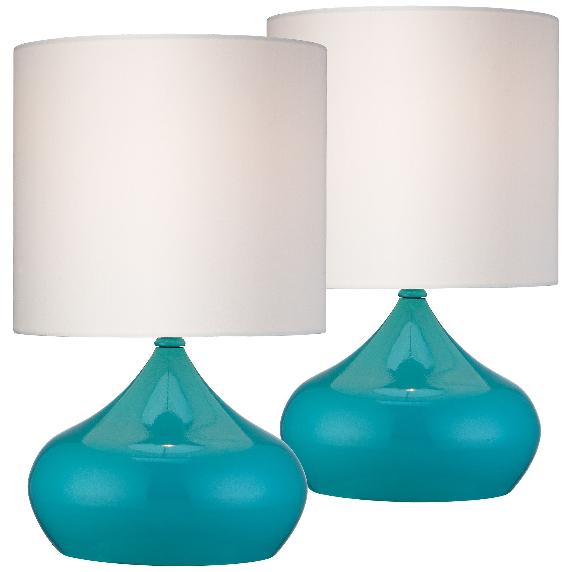 "360 Lighting Mid Century Modern Accent Table Lamps 14 3/4"" High Set of 2 Teal Blue Steel White Drum Shade for Bedroom Bedside"