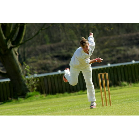 Canvas Print Bowling Wicket Cricket Match Cricketer Sport Stretched Canvas 10 x (Best Cricket Bowling Machine)