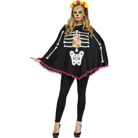 Catrina Day Of The Dead Costume (Day of the Dead Adult Poncho)