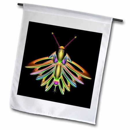 3dRose Firefly digital artwork of a colorful Firefly insect with reflecting wings and antennae - Garden Flag, 12 by 18-inch