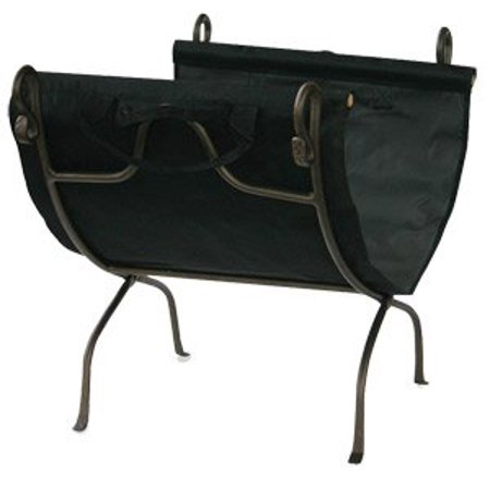 Bronze Finish Wrought Iron Log Holder with Canvas Carrier