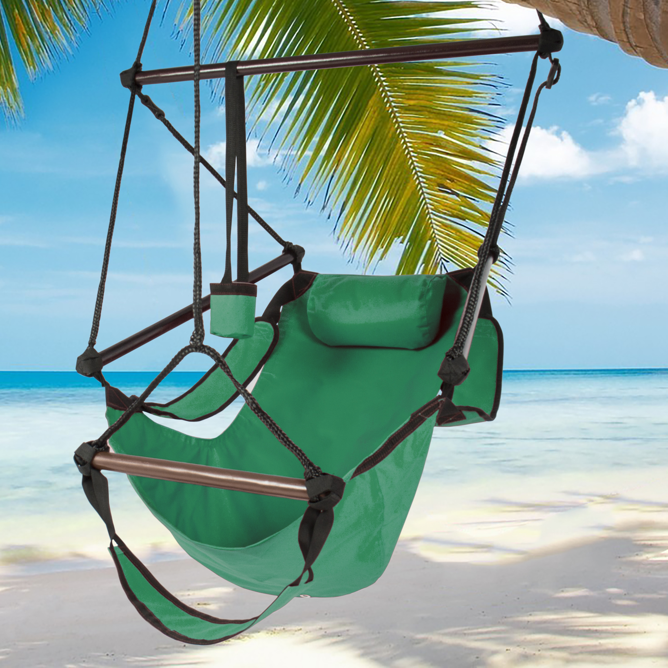 Hammock Hanging Chair Air Deluxe Sky Outdoor Chair Solid Wood 250lb Green