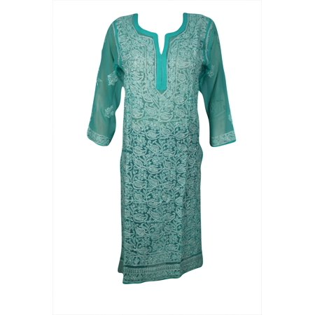 Sheer Caftan - Mogul Women's Beautiful Floral Hand Embroidered Sheer Long Tunic Dress Long Sleeves Georgette Bikini Cover Up Beach Wear Ethnic Indian Kurti Kurta Caftan