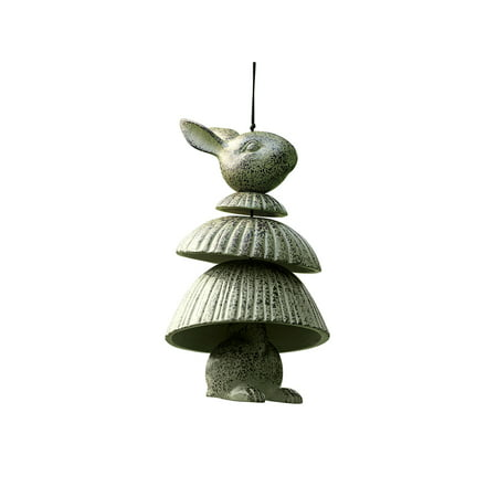 Spi Home Rabbit Wind Chime Wind Bell, Rabbit Bunny Tiered Cast Aluminum with Verdigris Finish, 11