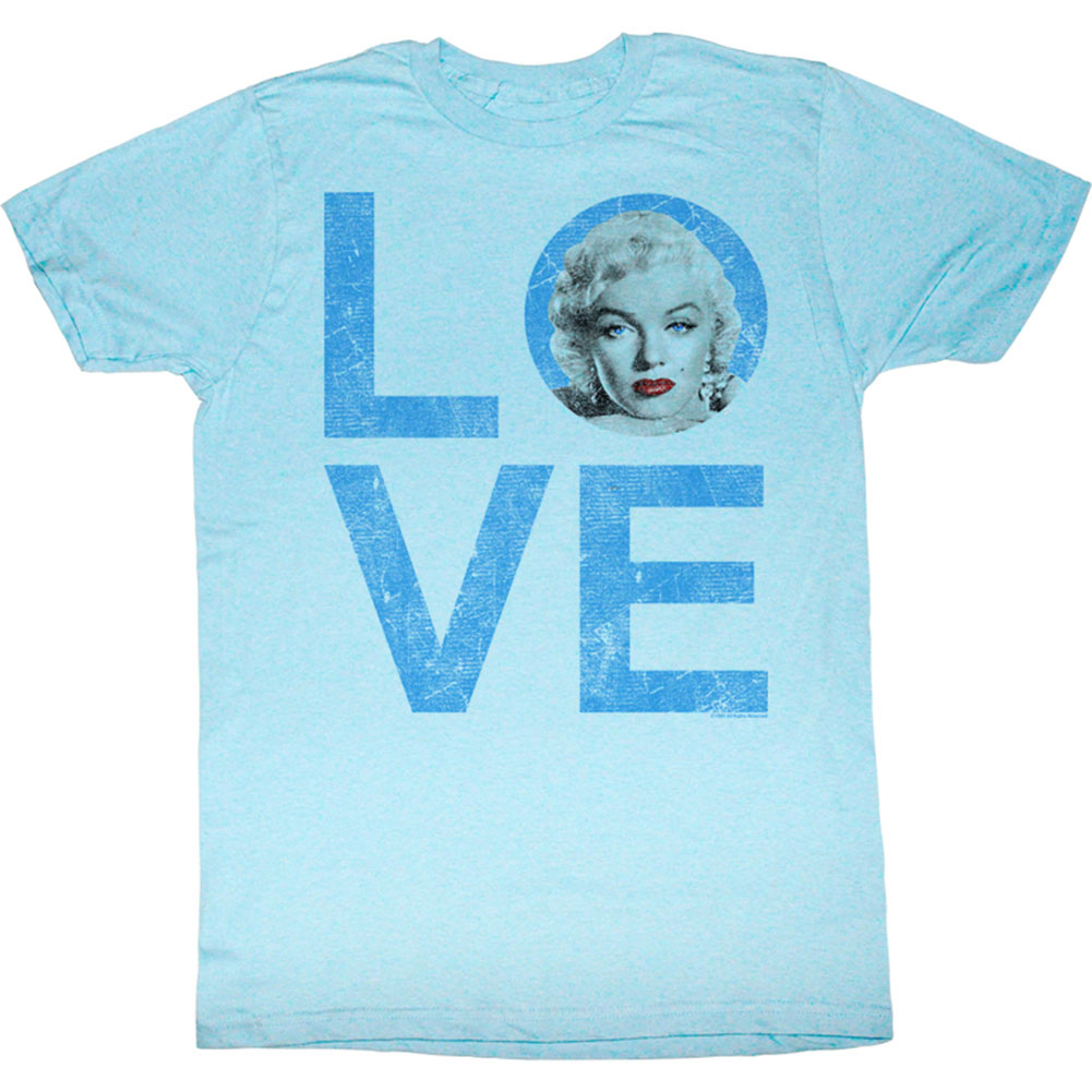 Marilyn Monroe Men's  Love Slim Fit T-shirt Neon Blue Heather