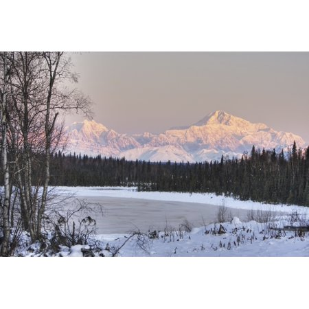 Winter Scenic Of The Southside Of Mt Mckinley As Seen From South Of The Denali National Park Lit With Alpenglow At Sunset Alaska Hdr Image Canvas Art   Michael Criss  Design Pics  38 X 24