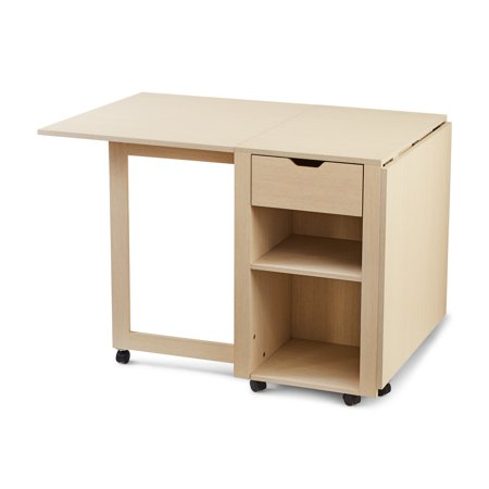 Mainstays Adjustable Rolling Office Desk with Shelves, Birch Finish Contemporary Traditional Desk