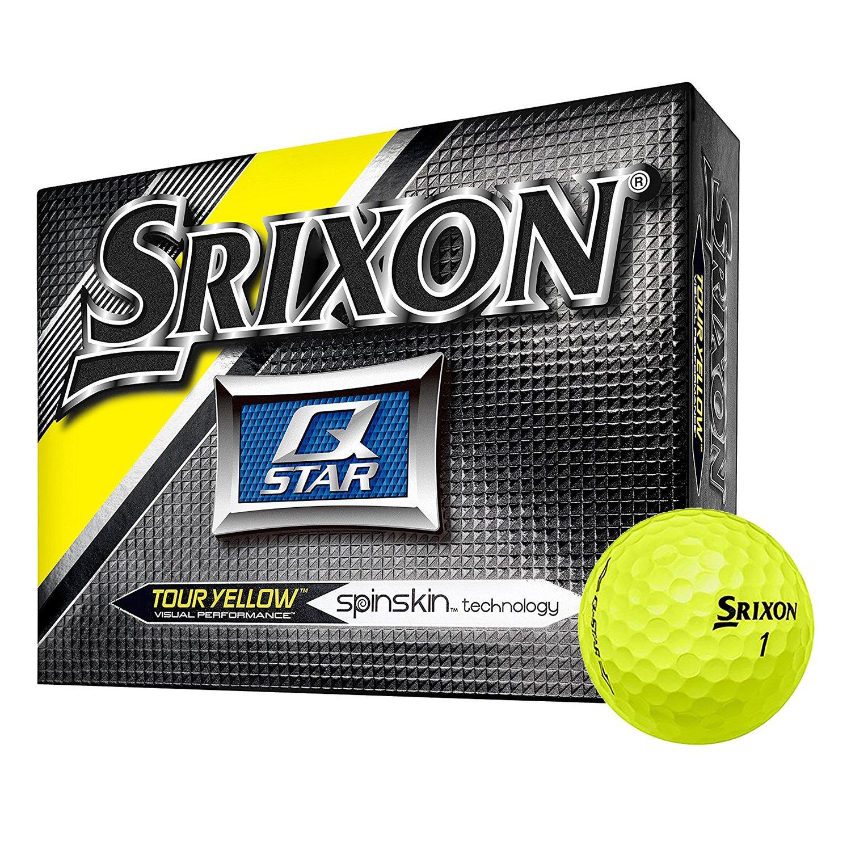 Srixon Q Star Spin Skin Technology All Ability Tour Golf Balls, Yellow, 12 Pack
