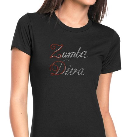 - Womens T-Shirt Rhinestone Bling Black Tee Zumba Diva Dance Fitness Crew Neck Small