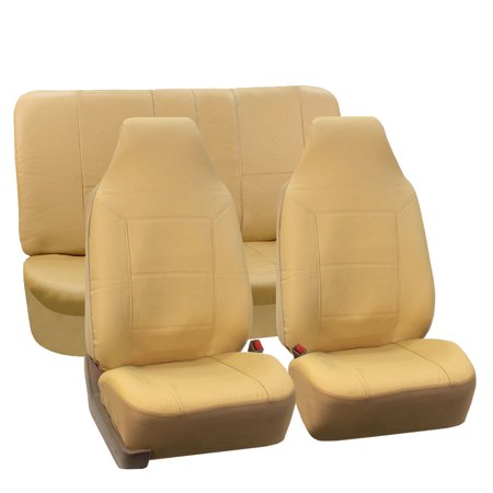 FH Group Royal PU Leather Full Set Airbag Compatible and Split Bench Car Seat Covers, Beige